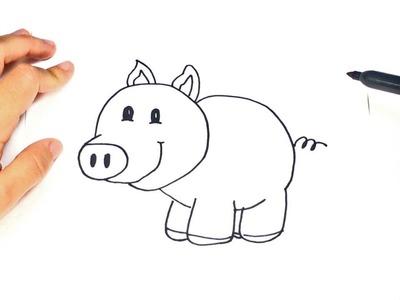 Como dibujar un Cerdito para niños | Dibujo de Cerdito paso a paso