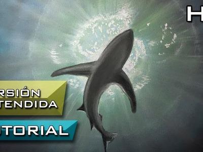 Cómo Dibujar un Tiburón debajo del Mar a contra luz - Versión extendida Tutorial