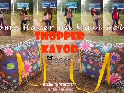 """Cómo hacer un bolso de viaje """"SHOPPER KAVOD"""" por Yuruanni Bravo"""