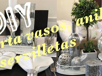 DECORACIONES PARA EL  COMEDOR.COMO HACER PORTAVASOS, ANILLOS Y SERVILLETAS