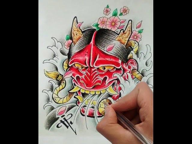 Diseño Demonio Japones. Japanese Demon (Oni) - Nosfe Ink Tattoo
