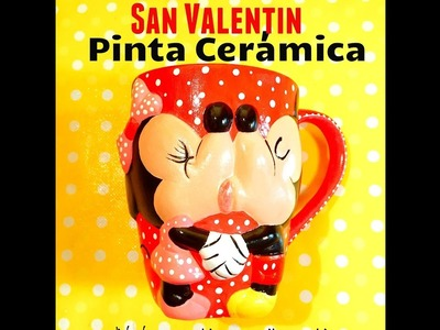 DIY taza san Valentín Mickey Mouse love valentines days paint ceramics
