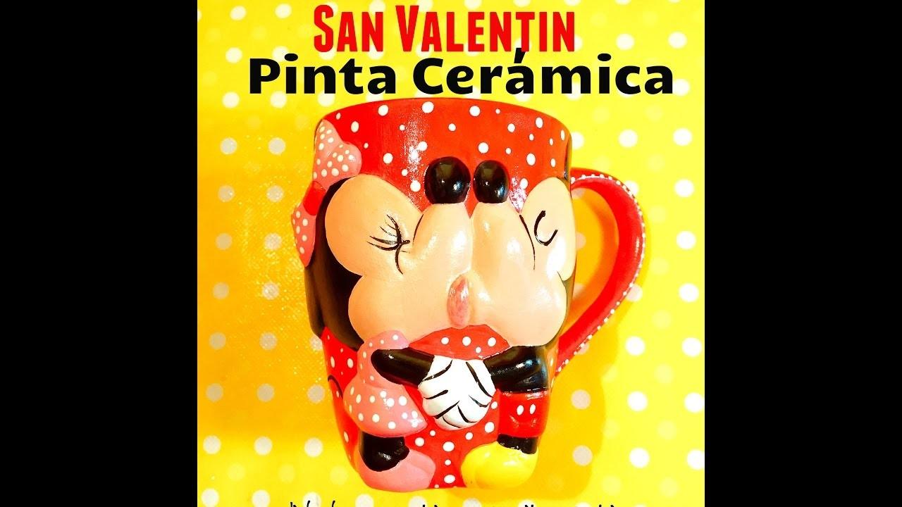 DIY taza san Valentín Mickey Mouse love valentines days paint ceramics
