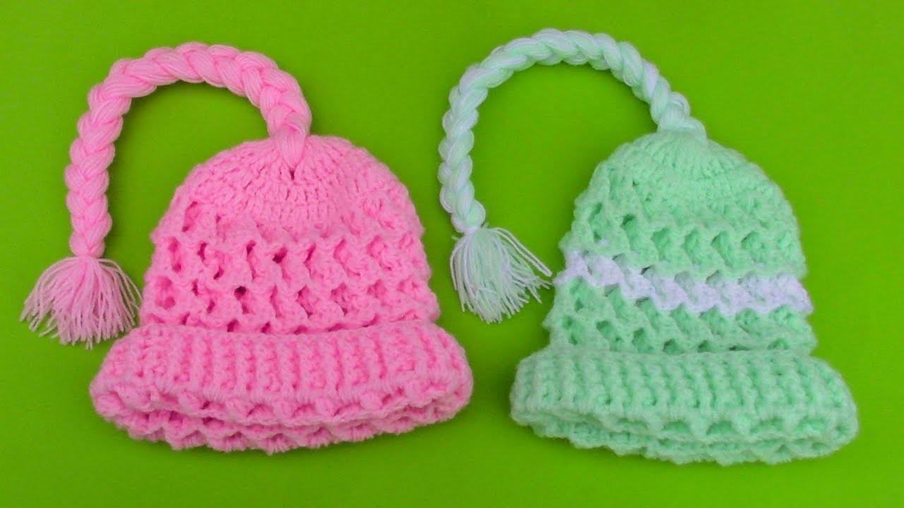 Gorra con trenza a crochet para niñas de 2 años en punto panal de abeja paso a paso