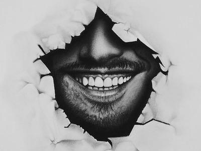 INCREIBLE METODO - Como DIBUJAR una sonrisa realista a lapiz y POROS de la PIEL - EFECTO PAPEL ROTO