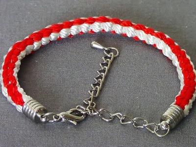 Pulsera Kumihimo roja y blanca