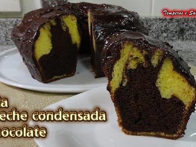 TORTA DE LECHE CONDENSADA Y CHOCOLATE  de licuadora fácil, rápida y deliciosa