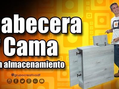 Cabecera de cama con almacenamiento - Mueble de melamina DIY
