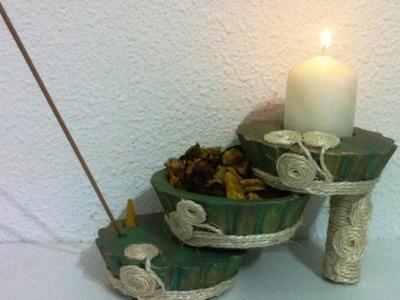 Centro de mesa Zen hecho con escayola