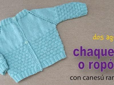 Chaquetita o ropón con canesú ranglan tejidos a dos agujas para bebés - Tejiendo Perú
