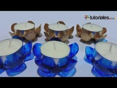 Como hacer candelabros en forma de flor de botellas plásticas recicladas.