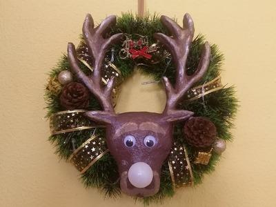 Como hacer decoración de reno navideña-corona navideña