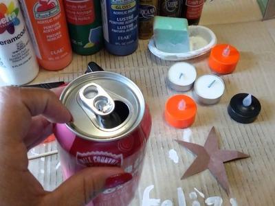 Como hacer lamparas o porta velas con latas de soda en navidad