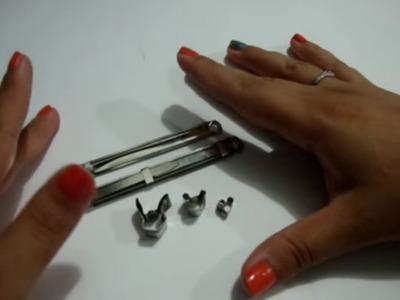 Como hacer mini cortadores de fimo. porcelana fria con ganchos para folder (cuter fimo)