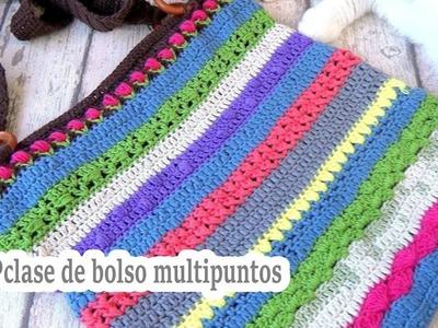 Como hacer un bolso a crochet exclusivo multipuntos | 7º clase | ganchillo facil