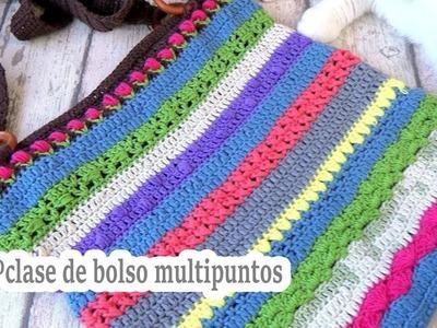 Como hacer un bolso a crochet  multipuntos | 6º clase | ganchillo fácil