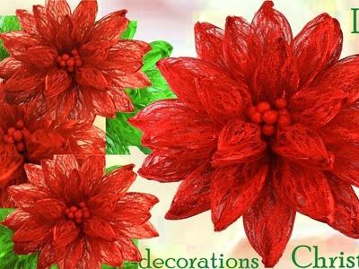 Como hacer una flor Nochebuena de Navidad adornos Navideños para las fiestas