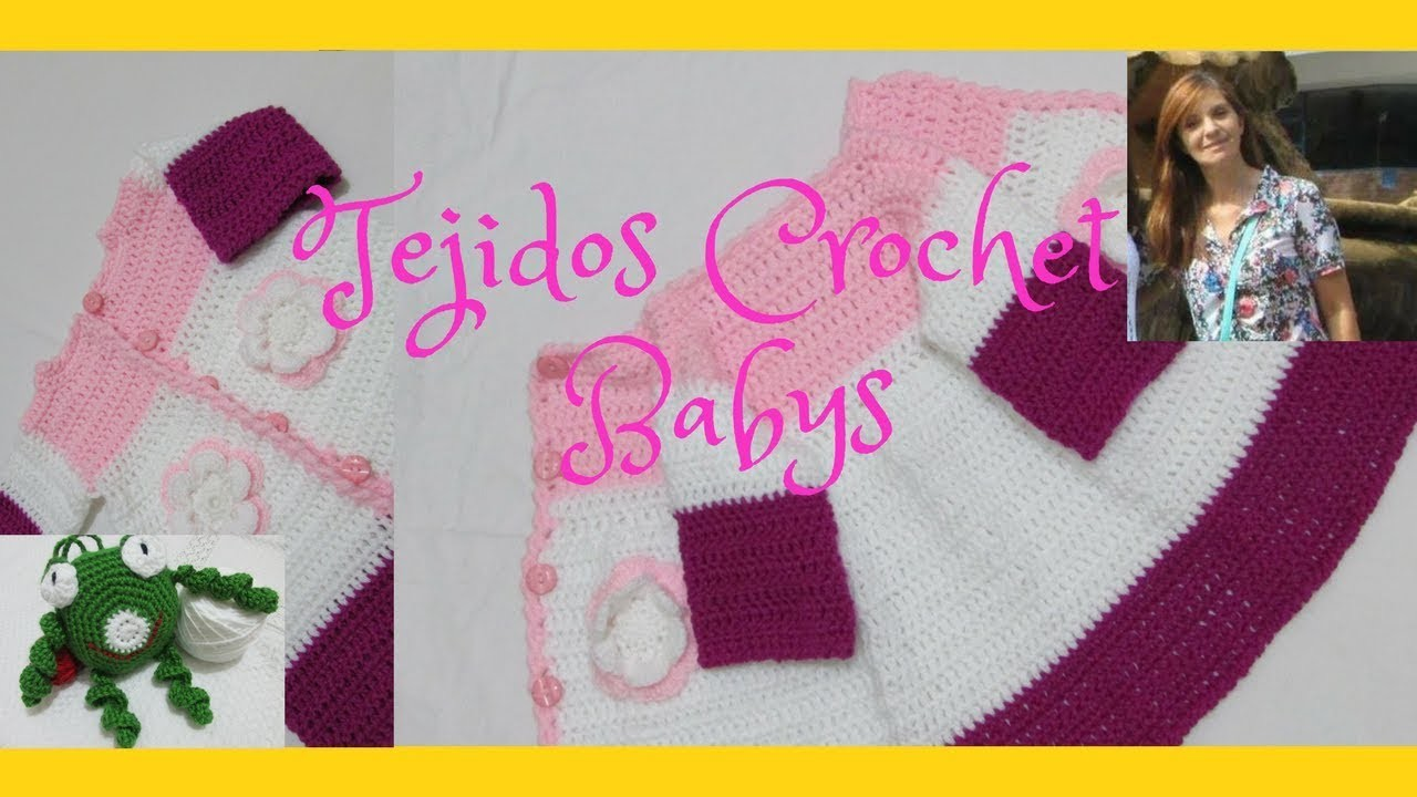 Como tejer abrigo en crochet. para niños, con flores. Sin costuras. 2ª parte.