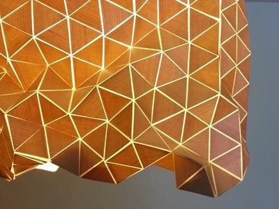 DIY:   lampara , pantalla de  diseño geometrico com madera y tela, Geometric design lamp