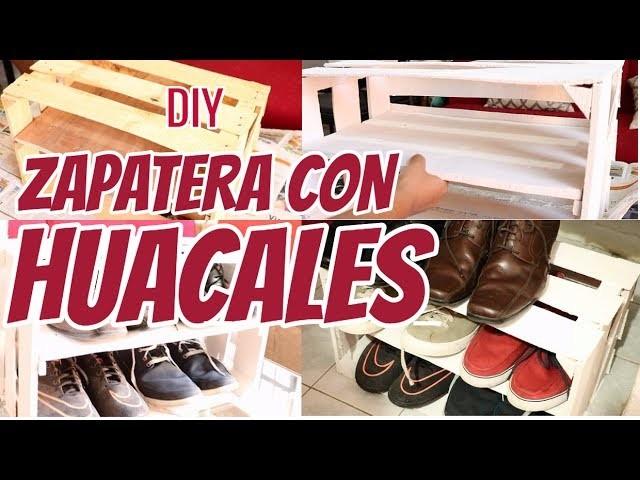 zapateros reciclados DIY ORGANIZADOR ZAPATERO CON HUACALES DE MADERA DIY