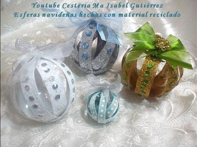 Esferas navideñas hechas con material reciclado. DIY. Christmas balls made with recycled material