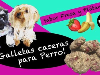 Galletas para perros sabor fresa y plátano ¡Hechas en casa!