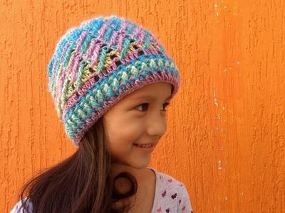 ???? Gorro a crochet  para niños y adultos  en punto diagonal a crochet