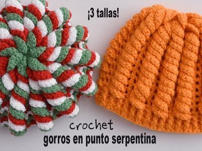 Gorros en punto serpentina tejidos a crochet - Tejiendo Perú