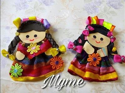 Muñecas de fomi y tela. muñequitas mexicanas, muñecas tipicas de tela