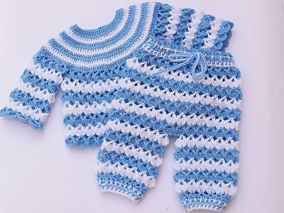 Pantalon de bebe a crochet a juego con jersey muy facil y rapido