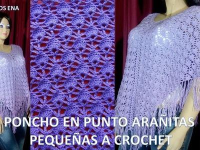 Poncho o Capa a Crochet en Punto Arañitas pequeñas para Damas