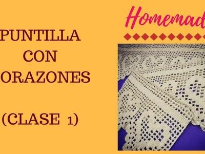 Puntilla, borde u orilla tejida a crochet con corazones | Tips para crochet filet | CLASE  1