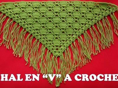 Punto para Chal  a crochet en V PARA ZURDOS FÁCIL Y RÁPIDO DE TEJER
