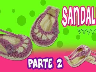 Sandalias o Huaraches tejidos  a crochet modelo verano | parte 2.2