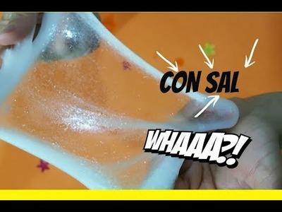 SLIME  CON  SAL!!. RECETA DE SLIME TRANSPARENTE.CRISTAL. SLIME EN 5 MINUTOS