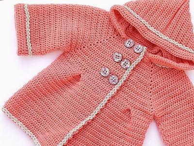 Abrigo de niña a crochet muy fácil y rápido