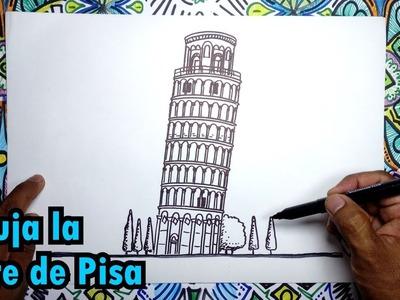 Aprende a dibujar la torre de Pisa en Italia - Pasos fáciles