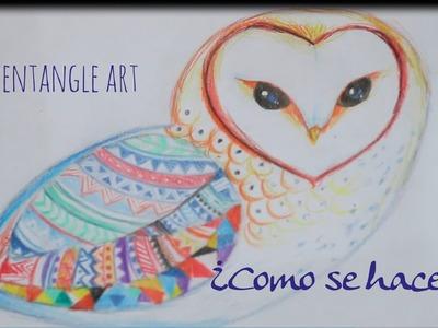 Como dibujar zentangle art un búho de colores