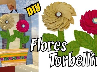 Como hacer Flores Torbellino en Fieltro Mis Flores de Tela DIY Tutorial