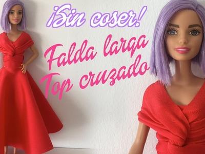 Cómo hacer una falda larga con vuelo y un top cruzado para Barbie sin coser. Ropa para muñecas
