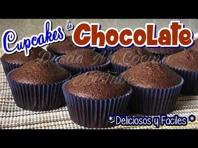 CUPCAKES DE CHOCOLATE -Receta Base para el pan- || DESDE MI COCINA by Lizzy
