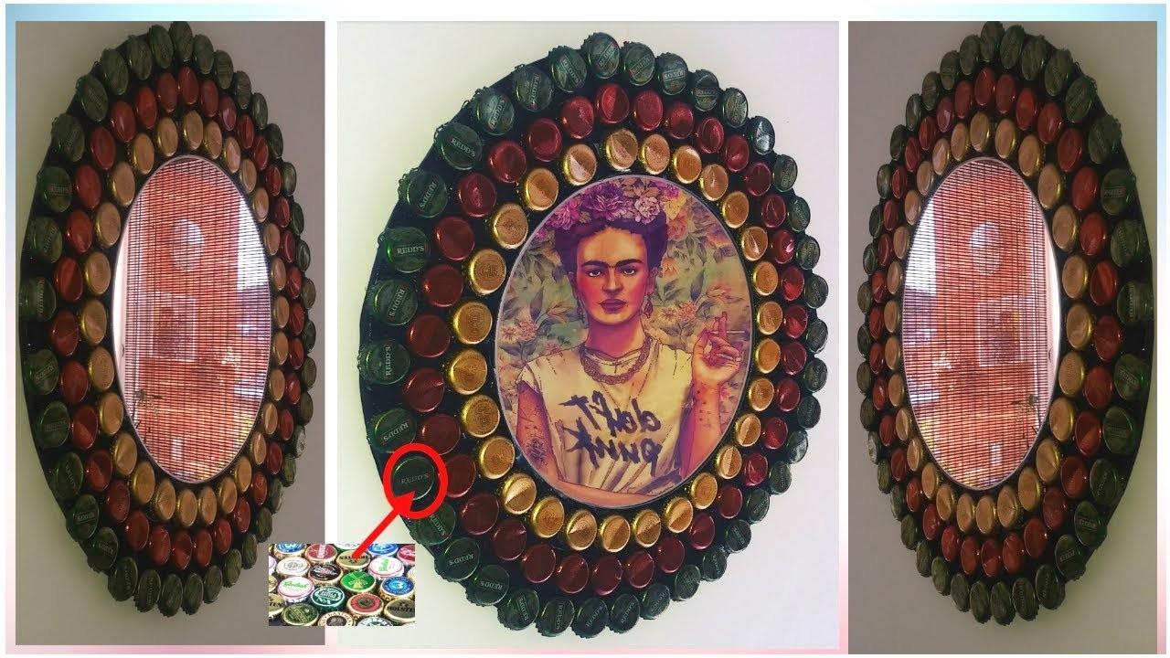 Decora Tu Espejo con tapas o chapas  (fácil y rápido) - Manualidades con reciclaje