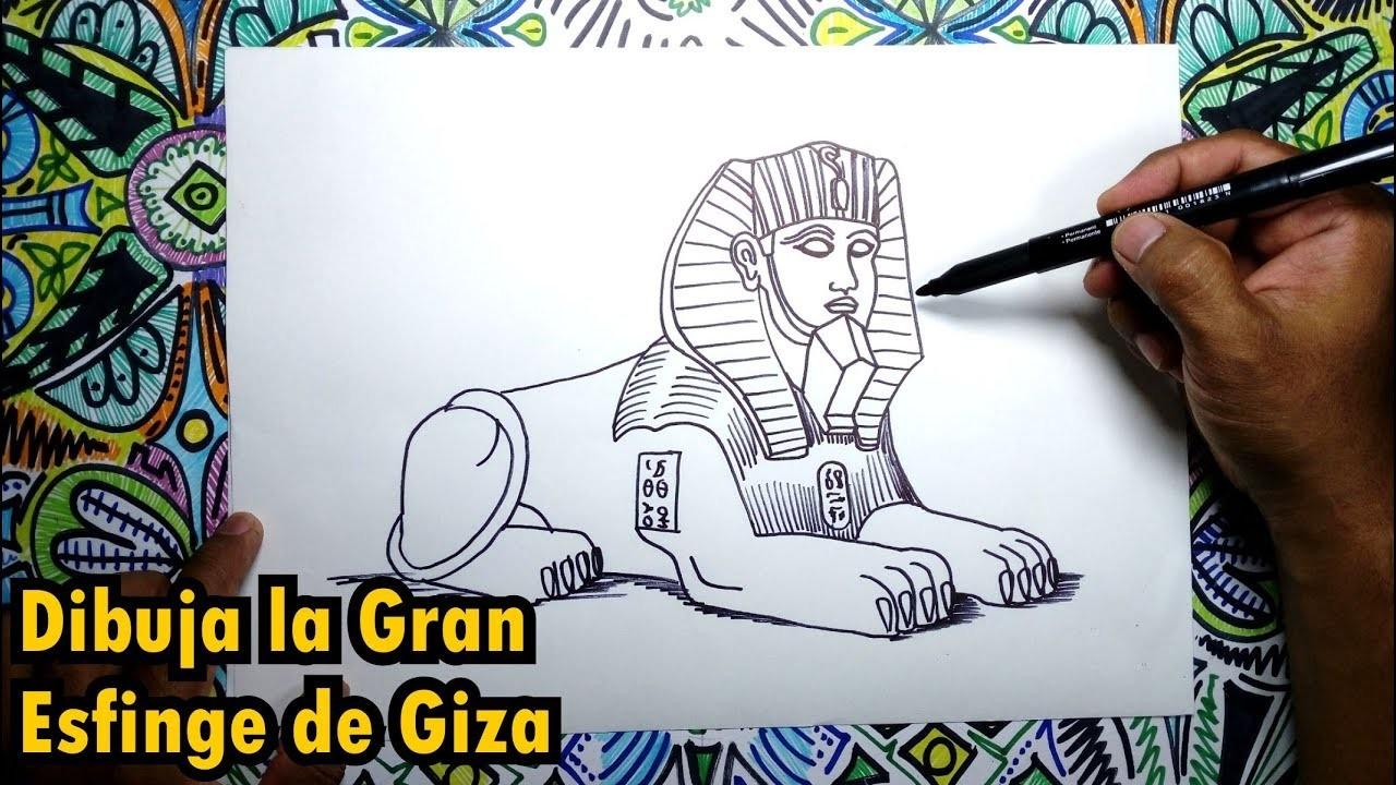 Dibuja la Gran Esfinge de Giza en Egipto
