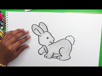 Dibujando y pintando conejo - Drawing and painting rabbit