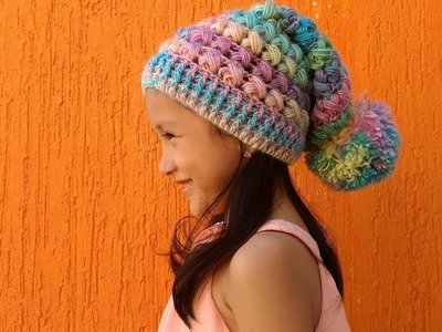 GORRO SLOWCHY A CROCHET PARA NIÑOS Y ADULTOS. SLOUCHY HAT  TO CROCHET FOR CHILDREN AND ADULTS.