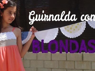 GUIRNALDA CON  BLONDAS DE PAPEL