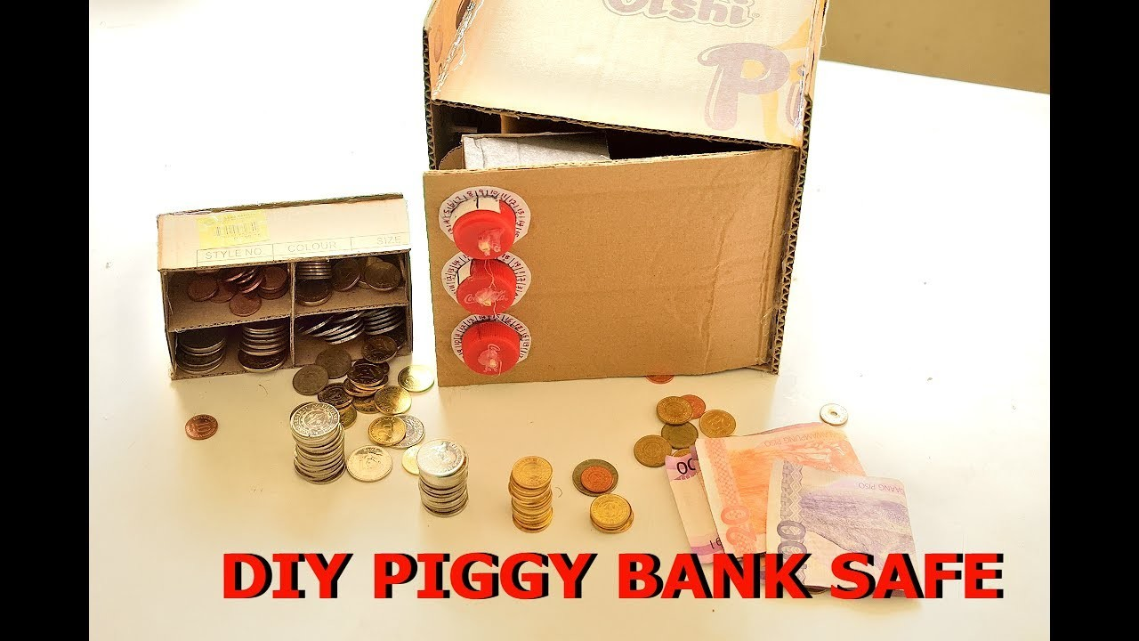How to make a cardboard piggy bank safe with combination password locker(science project)