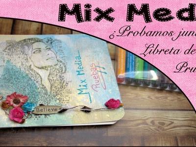Mix media probamos junt@s #1 haz tu libreta de pruebas, tapas con distress oxide | #4