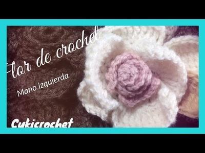 PARA ZURD@S: FLOR CON CROCHET. GANCHILLO COMO ORQUIDEA, PASO A PASO