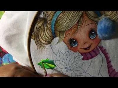 Pintura En Tela Niña Con Nochebuena # 3 Con Cony